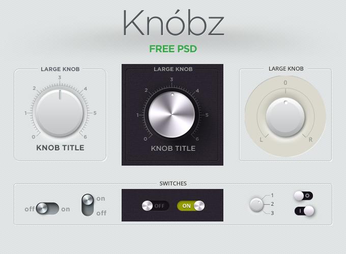 Knobz UI Kit Free PSD
